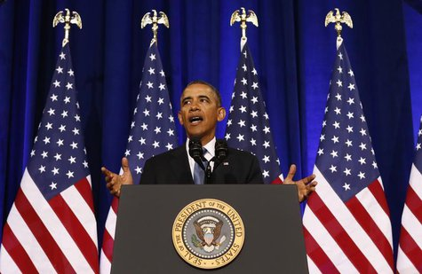 U.S. President Barack Obama speaks about the National Security Agency from the Justice Department in Washington January 17, 2014. REUTERS/Ke