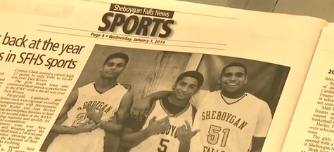 "Photo of the Jackson brothers that led to a one-game suspension for alleged ""gang signs"". The Sheboygan Falls School District overturned that suspension on Friday Jan. 17, 2014. (Photo from: YouTube)"