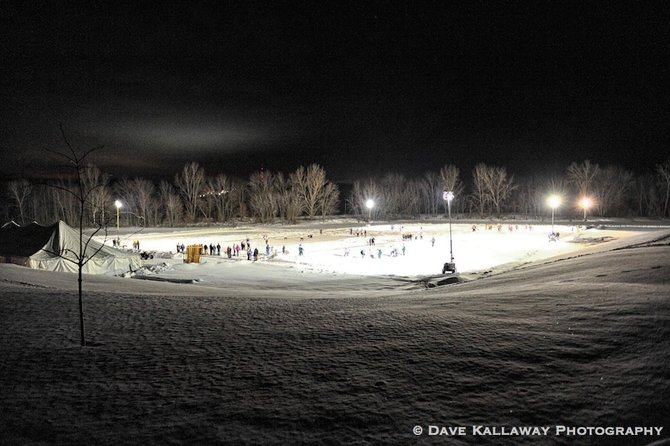 A good view from the top of the hill at Sunnyville...!! Night Pond Hockey ya'all!!!