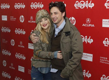 "Actors Kate Hudson (L) and Zach Braff attend the premiere of the film ""Wish I Was Here"" at the Sundance Film Festival in Park City, Utah, Ja"