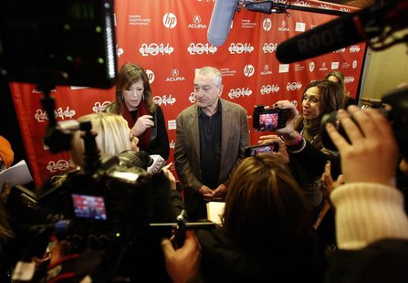 "Executive producer Jane Rosenthal (L) and actor Robert De Niro attend the premiere of the film ""Remembering the Artist"" at the Sundance Film"