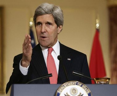 United States Secretary of State John Kerry holds a news conference with Canada's Foreign Minister John Baird and Mexico's Foreign Secretary