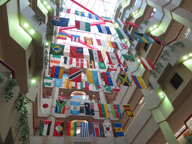 Inside the hospital these flags hang in honor of all the workers that are from other countries.   As you can see there are many from all over the world.