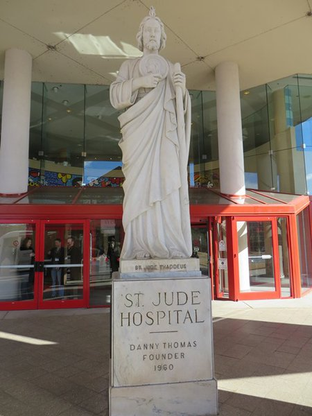 Statue of St Jude outside of the hospital.