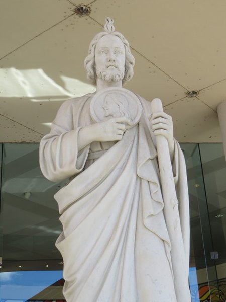 Statue of St Jude outside the main entrance of St Jude Children's Research Hospital.