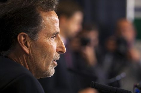 Vancouver Canucks new head coach John Tortorella talks to the media after he was introduced by Canucks General Manager Mike Gillis during a