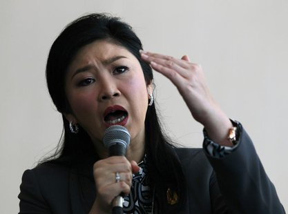 Thailand's Prime Minister Yingluck Shinawatra speaks during a news conference at the Permanent Secretary of Defence in Bangkok January 17, 2