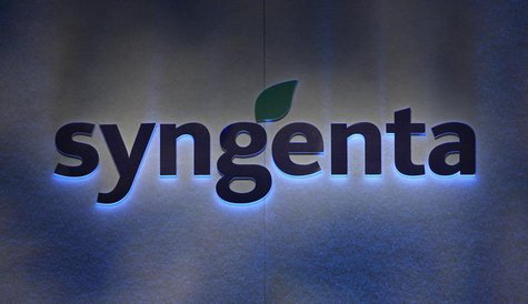 Agrochemicals maker Syngenta's logo is pictured during the annual news conference in Zurich February 6, 2009. REUTERS/Christian Hartmann