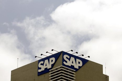 The SAP logo is seen on a building at the SAP India labs campus in Bangalore June 24, 2009 FILE PHOTO. REUTERS/Punit Paranjpe