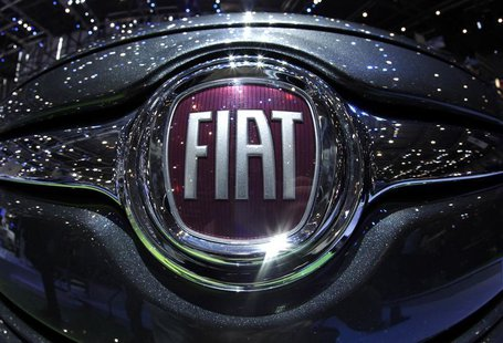 The Fiat logo is seen in a car displayed on the Fiat booth during the first media day of the Geneva Auto Show at the Palexpo in Geneva in th