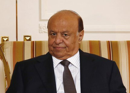 Yemeni President Abd-Rabbu Mansour Hadi looks on during a meeting with U.S. Treasury Secretary Jack Lew (not pictured), in Washington, July