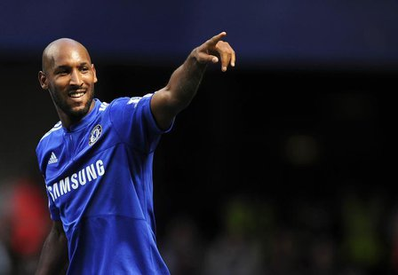 Chelsea's Nicolas Anelka celebrates after scoring against Burnley during their English Premier League soccer match at Stamford Bridge in Lon