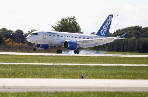 Bombardier's CSeries aircraft lands after its first test flight in Mirabel, Quebec September 16, 2013. REUTERS/Christinne Muschi (