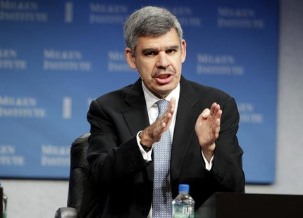 "Mohamed A. El-Erian, CEO and co-CIO of PIMCO, takes part in a panel discussion titled ""Global Markets in Uncertain Times"" at the Milken Inst"