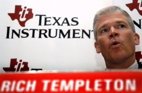 President and Chief Executive Officer of Texas Instruments Inc. Richard Templeton speaks during a news conference in southern Indian city of