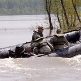 National guard members on patrol during 2011 flooding on the Missouri River in Bismarck
