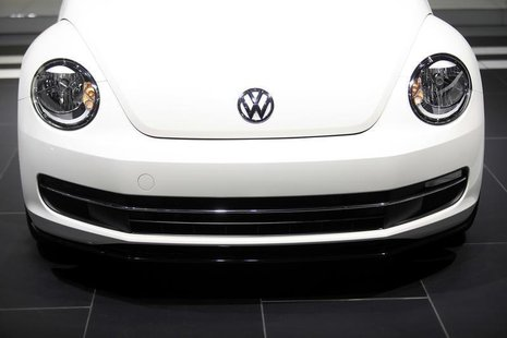 The Volkswagen logo is displayed on a 2014 Beetle TDI during the North American International Auto Show in Detroit, Michigan January 15, 201