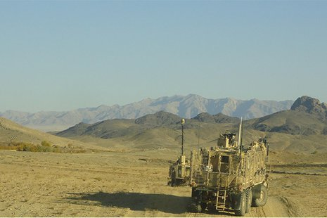 Soldiers from the Litchfield-based 849th Mobility Augmentation Company conduct route clearance operations as part of Task Force Dragoon while deployed to Afghanistan in December 2013.