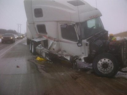A crashed semi on Hwy. 41 near Hwy. 26 in the Oshkosh area, Jan. 22, 2014. (Photo from: FOX 11).