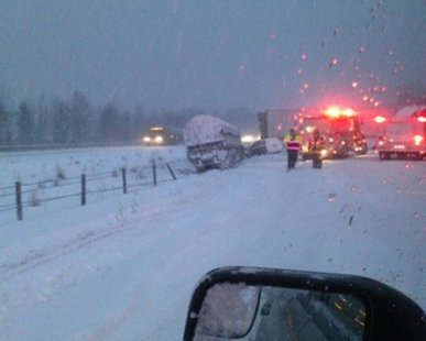 A view of a multi-vehicle pileup on southbound I-196 near Glenn on Jan. 23, 2014 (photo courtesy Allegan Co. Sheriff's Dept.)