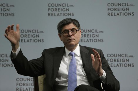 United States Secretary of the Treasury Jack Lew gestures during a discussion with John Bussey (not pictured), the executive business editor