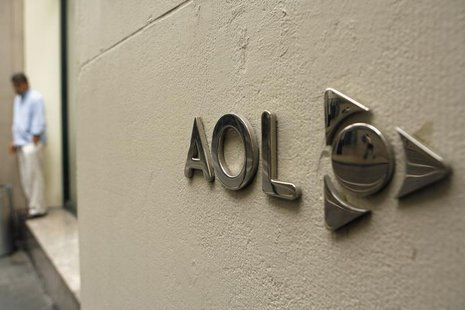 The AOL logo is seen on the outside of the building housing the companies corporate headquarters in New York May 28, 2009. REUTERS/Lucas Jac