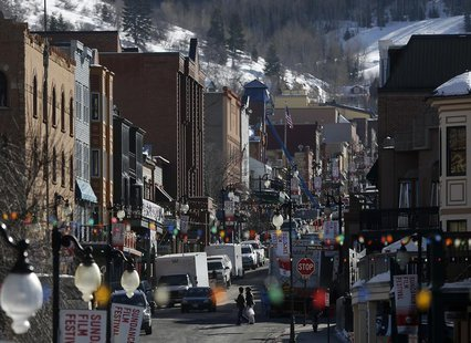 A general view shows Main Street bustling with activity before the opening day of the Sundance Film Festival in Park City, Utah, January 15,