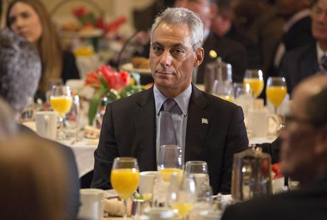 Mayor of Chicago Rahm Emanuel sits during the U.S. Conference of Mayors Winter Meeting in Washington January 23, 2014. REUTERS/Joshua Robert
