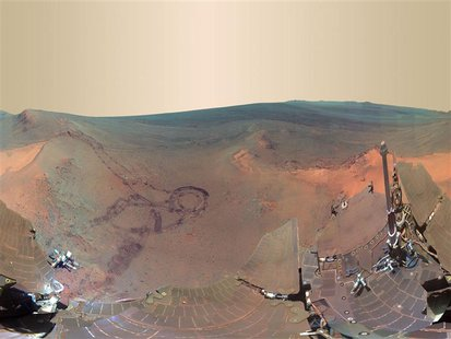 A 360-degree digitally-compressed panorama image of Mars is seen in this composite of 800 images sent from the NASA Opportunity rover on Mar