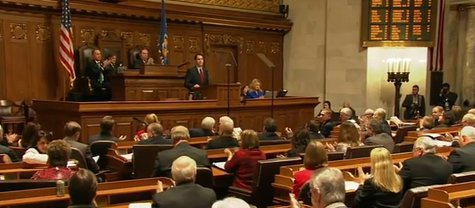 Joint session of the Wisconsin legislature watches Gov. Scott Walker's State of the State address on Wednesday Jan. 22, 2014 (Photo from: YouTube)