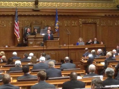 Gov. Scott Walker gives his State of the State speech in Madison, Wednesday, Jan. 22, 2014. (Photo from: FOX 11).
