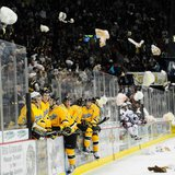 Teddy Bear Tossing at a Green Bay Gamblers hockey game (Photo from: Facebook).