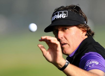 Jan 23, 2014; La Jolla, CA, USA; Phil Mickelson warms up on the driving range prior to the first round of the Farmers Inurance Open golf tou