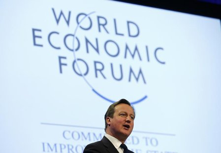 Britain's Prime Minister David Cameron speaks during a session at the annual meeting of the World Economic Forum (WEF) in Davos January 24,
