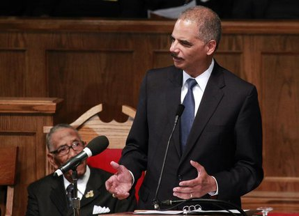 U.S. Attorney General Eric H. Holder speaks during the Community Memorial Service at 16th Street Baptist Church in Birmingham, Alabama Septe