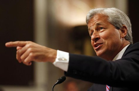 "JP Morgan Chase and Company CEO Jamie Dimon points during the U.S. Senate Banking, Housing and Urban Affairs Committee hearing on ""A Breakdo"