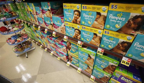 Pampers diapers, a product distributed by Procter & Gamble, is pictured on sale at a Ralphs grocery store in Pasadena, California January 21