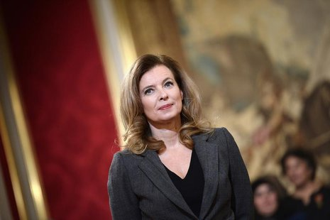 Valerie Trierweiler, companion of French President Francois Hollande, attends a ceremony for recipents of the Family Medal award at the Elys