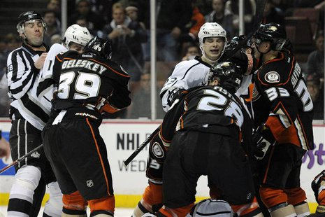 Jan 23, 2014; Anaheim, CA, USA; Anaheim Ducks and Los Angeles Kings fight during the third period at Honda Center. The Ducks won 2-1. Mandat