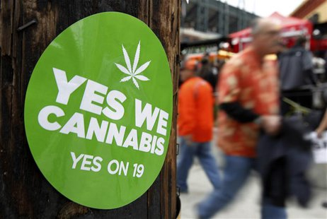 A sticker to support proposition 19, a measure to legalize marijuana in the state of California, is seen on a power pole in San Francisco, C