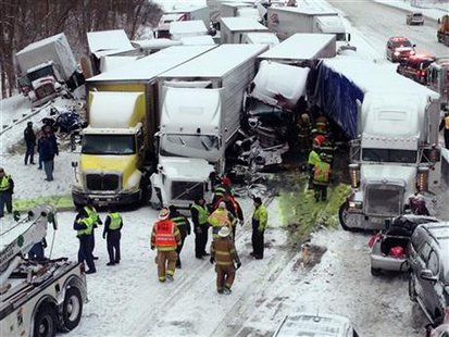 Interstate 94 crash 1/23/14 near Michigan City, Indiana.   Photo courtesy of Indiana State Police