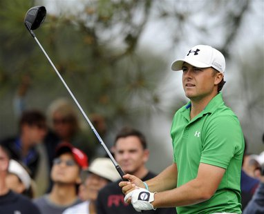 Jan 24, 2014; La Jolla, CA, USA; Jordan Spieth tees off on the fifth hole on the North Course during the second round of the Farmers Insuran