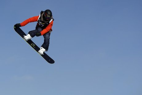 Australia's Torah Bright competes during the women's Snowboard Slopestyle Finals at the FIS Snowboard World Championships in Stoneham, Quebe