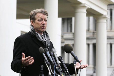 "U.S. Rep. Rand Paul (R-KY) speaks outside the White House after President Barack Obama announced the first five ""Promise Zones,"" as a way to"