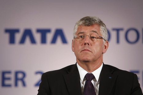 Karl Slym, managing director of Tata Motors, looks on during a news conference to announce their second quarter results in Mumbai November 8