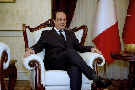 French President Francois Hollande is seen as he meets Turkey's Prime Minister Recep Tayyip Erdogan (not pictured) in Ankara, as part of a t