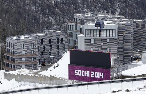 Appartment buildings are pictured next to the Sanki sliding center at the Rosa Khutor Alpine Resort in Krasnaya Polyana near Sochi, January