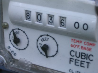 A residential gas meter.