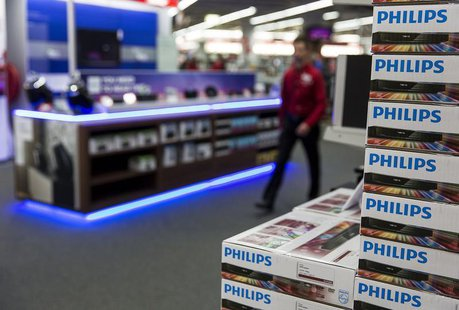 A stack of Philips DVD recorders are displayed in a household items store in Utrecht December 10, 2013. REUTERS/Michael Kooren