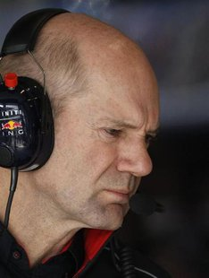 Red Bull Formula One technical chief Adrian Newey looks on during the second practice session of the Australian F1 Grand Prix at the Albert